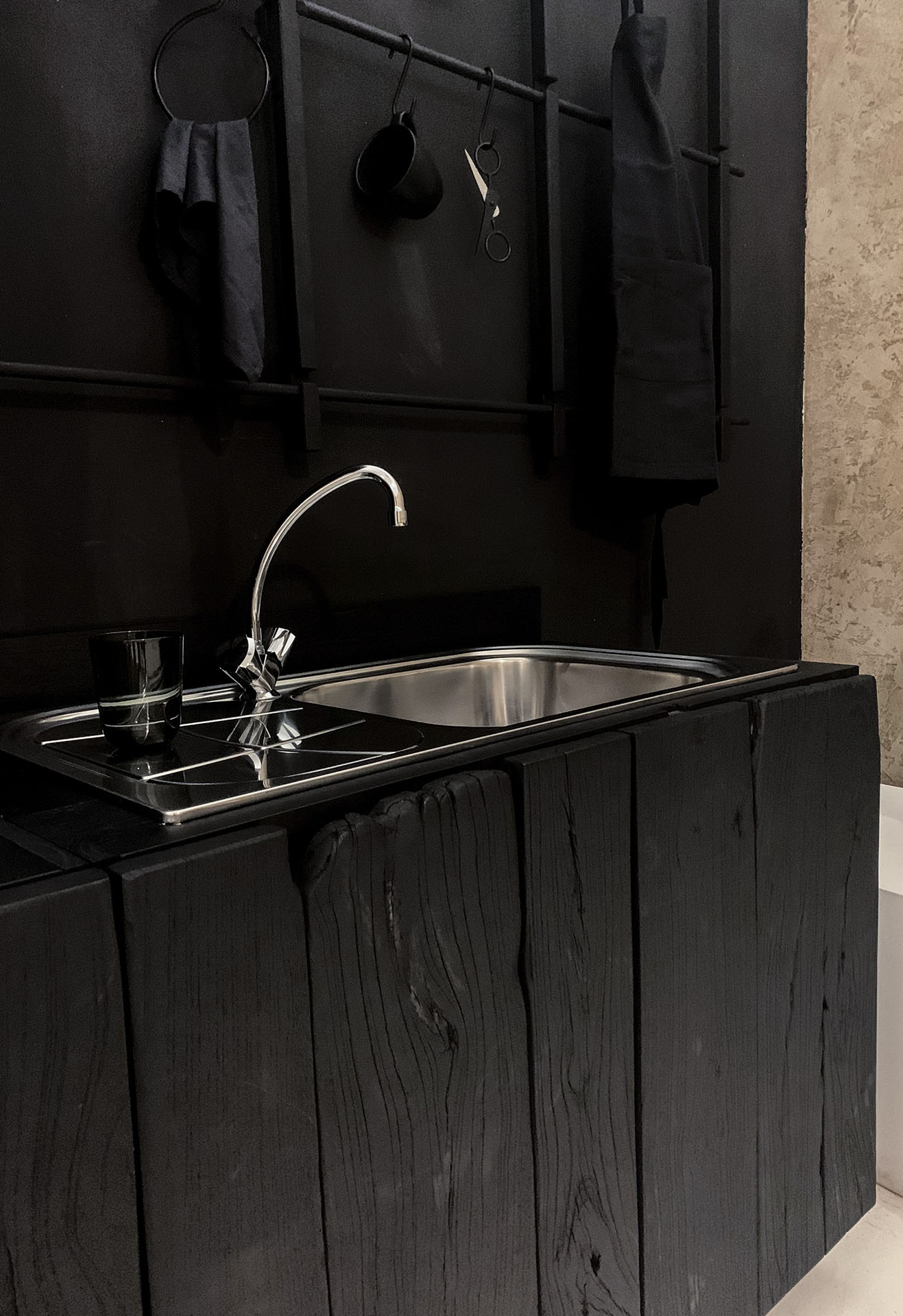 cabinet doors from wabu kitchen design made of charred reclaimed wood