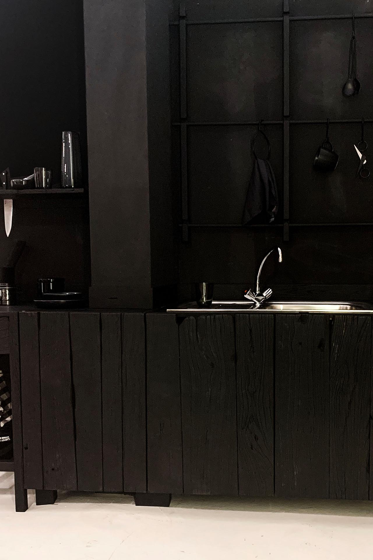 sink from wabu kitchen design made of charred reclaimed wood
