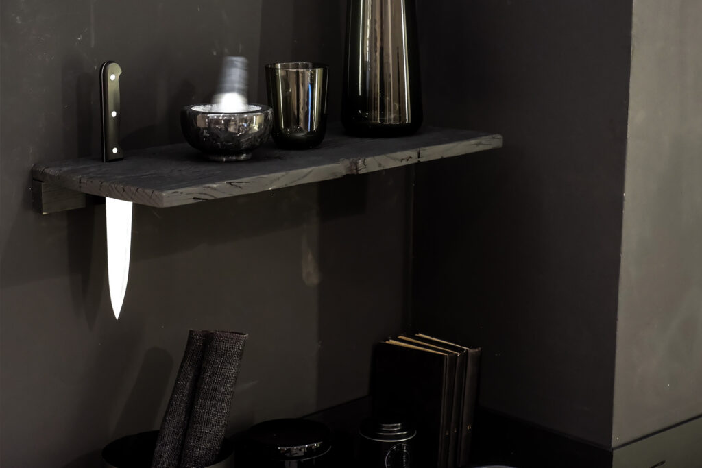shelve from wabu kitchen design made of charred reclaimed wood