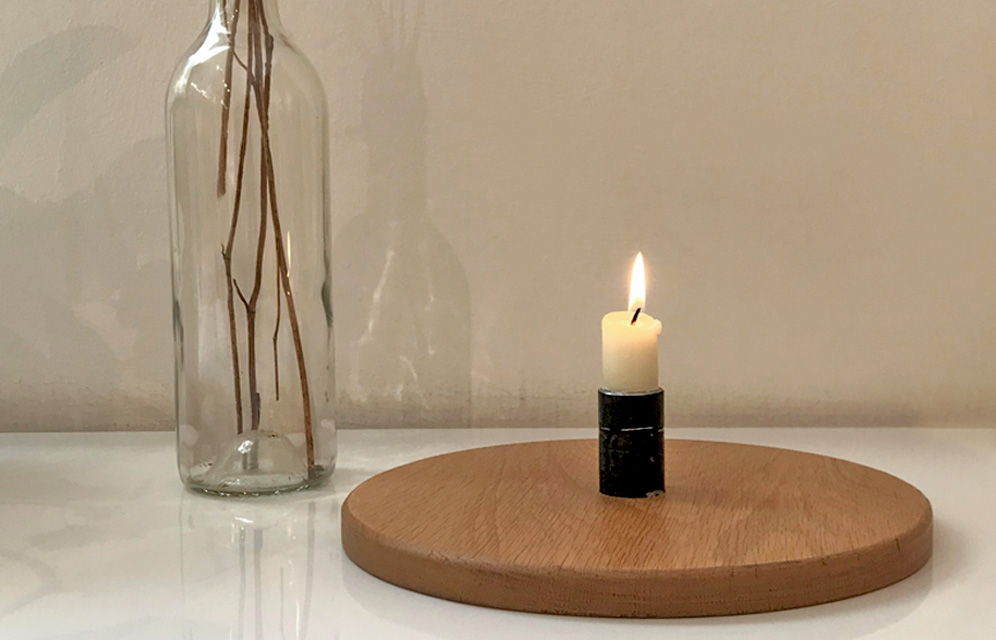 candle holder on table