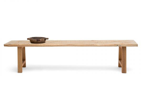cedar bench made from a plank of cedar wood