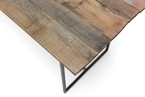 Fine Table made with reclaimed oak wood and a steel structure